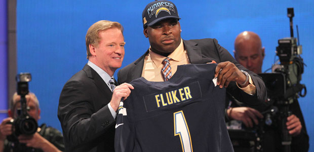 Commish and Fluker at the NFL Draft