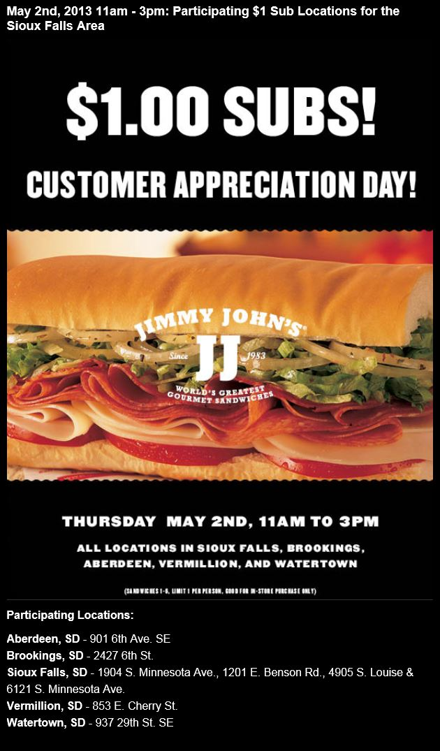 Free Sub Sioux Falls Jimmy Johns