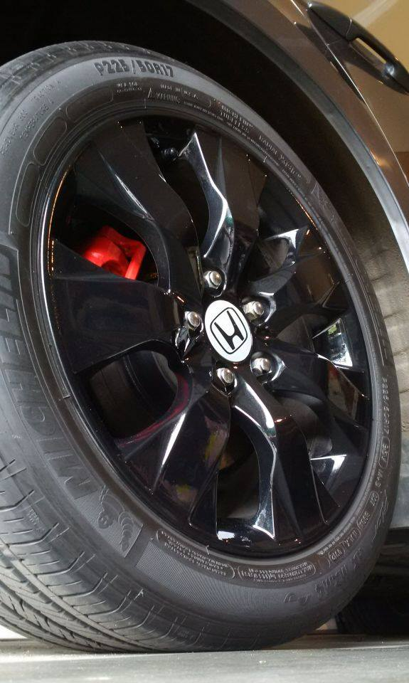 2009 Honda Accord Blacked Out Rims with Red Brakes Close Up
